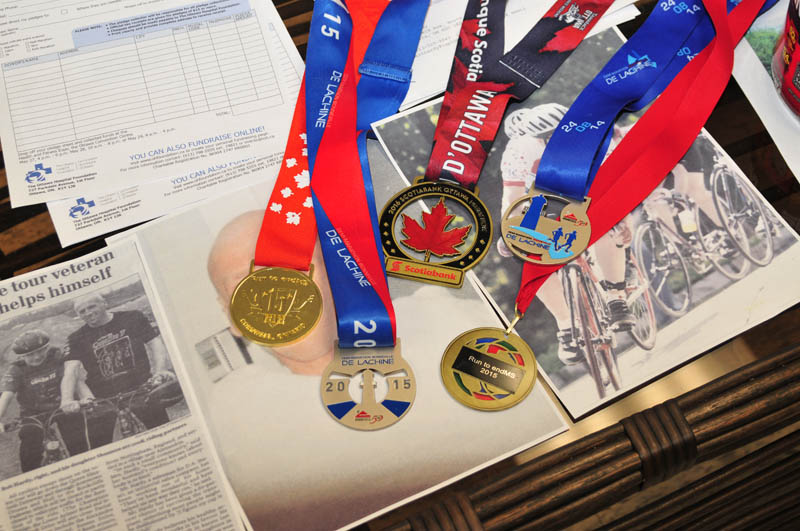 "A selection of medals that Robert ""Bob"" Hardy earned at various events with his walker."
